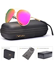 e7ec29ac3a ... Case - UV 400 Protection 60MM. LUENX Aviator Sunglasses for Women  Polarized Mirrored Rose Red Lens Gold Metal Frame Large 60mm