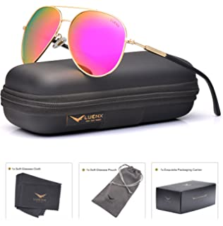 13a607e72c LUENX Aviator Sunglasses for Women Polarized Mirrored Rose Red Lens Gold  Metal Frame Large 60mm