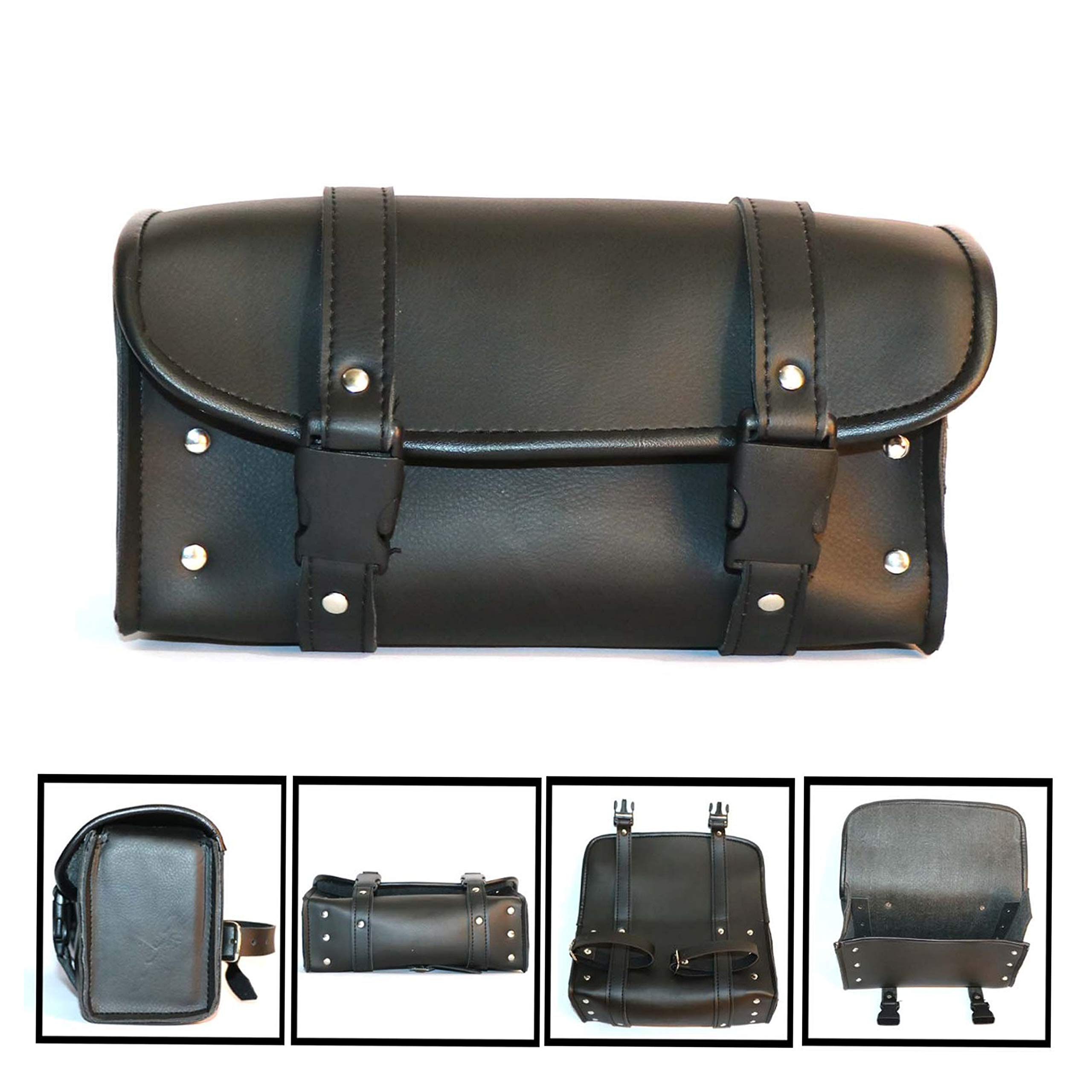 F FIERCE CYCLE Motorbike Black Synthetic Leather Saddlebag Luggage Pouch Tool Bags with Metal Buckle