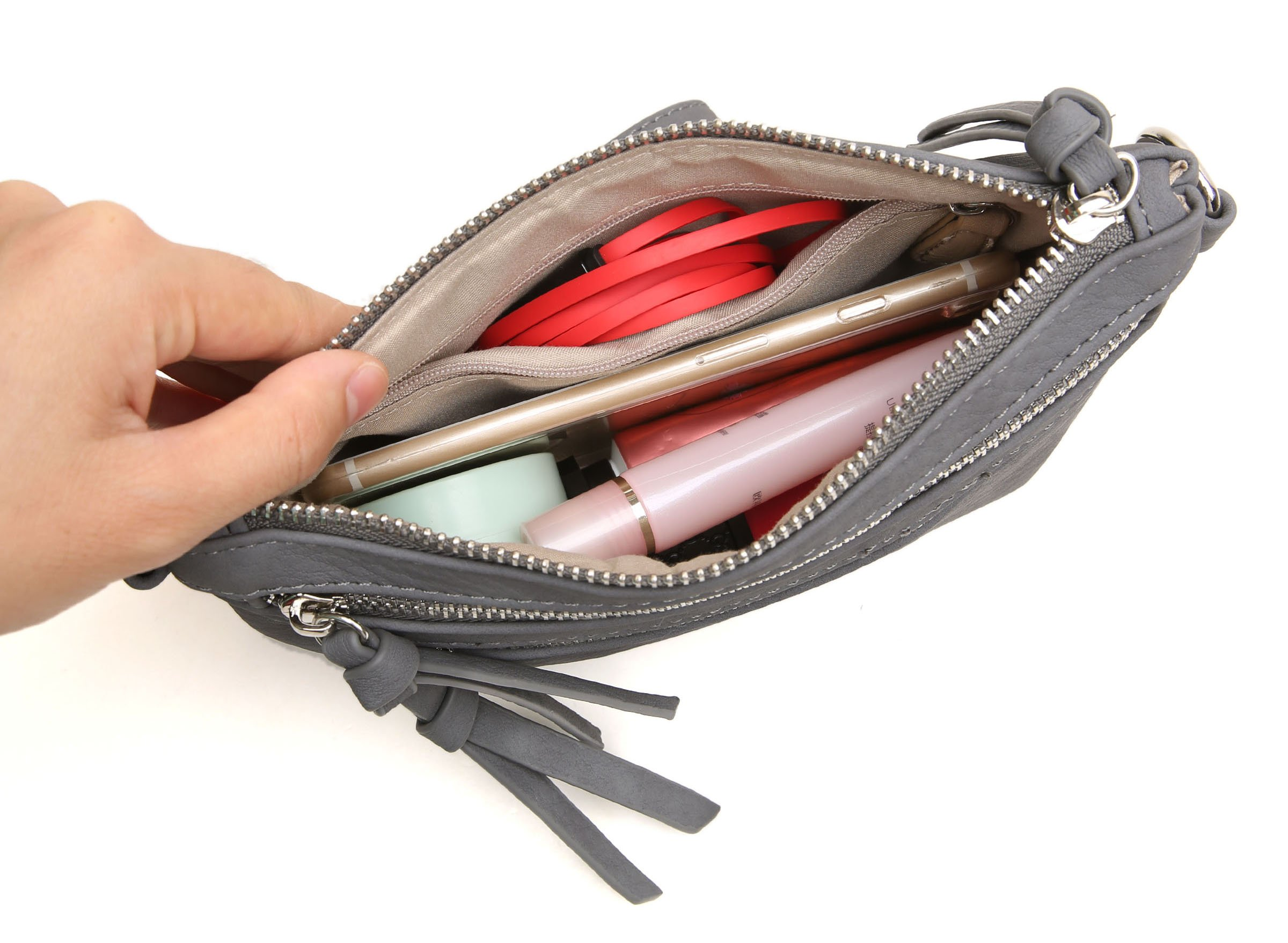 Aitbags Multi-Zipper Pocket Crossbody Handbag Lightweight Purse Functional Clutch with Wristlet by Aitbags (Image #6)
