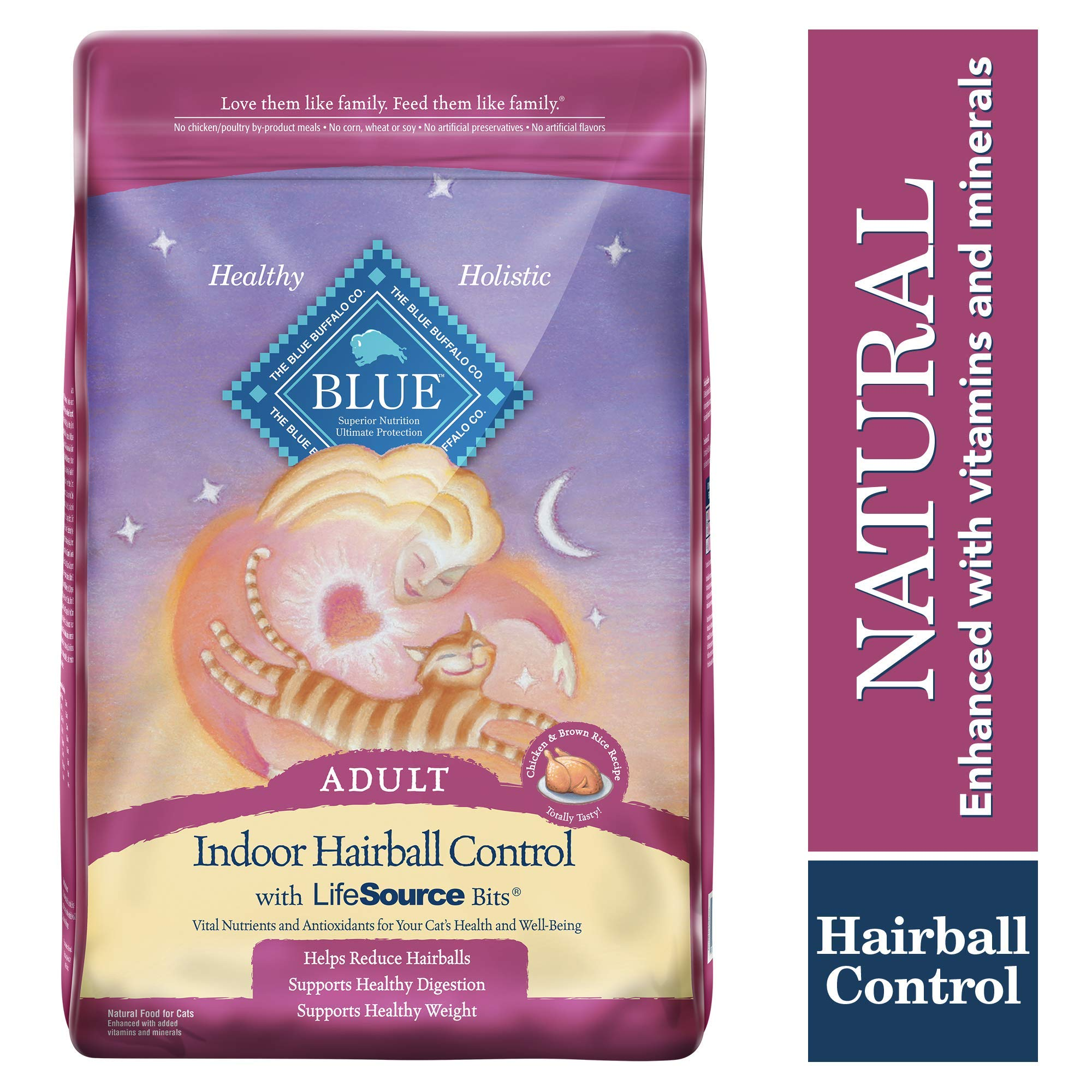 Blue Buffalo Indoor Hairball Control Natural Adult Dry Cat Food, Chicken & Brown Rice 15-lb by Blue Buffalo