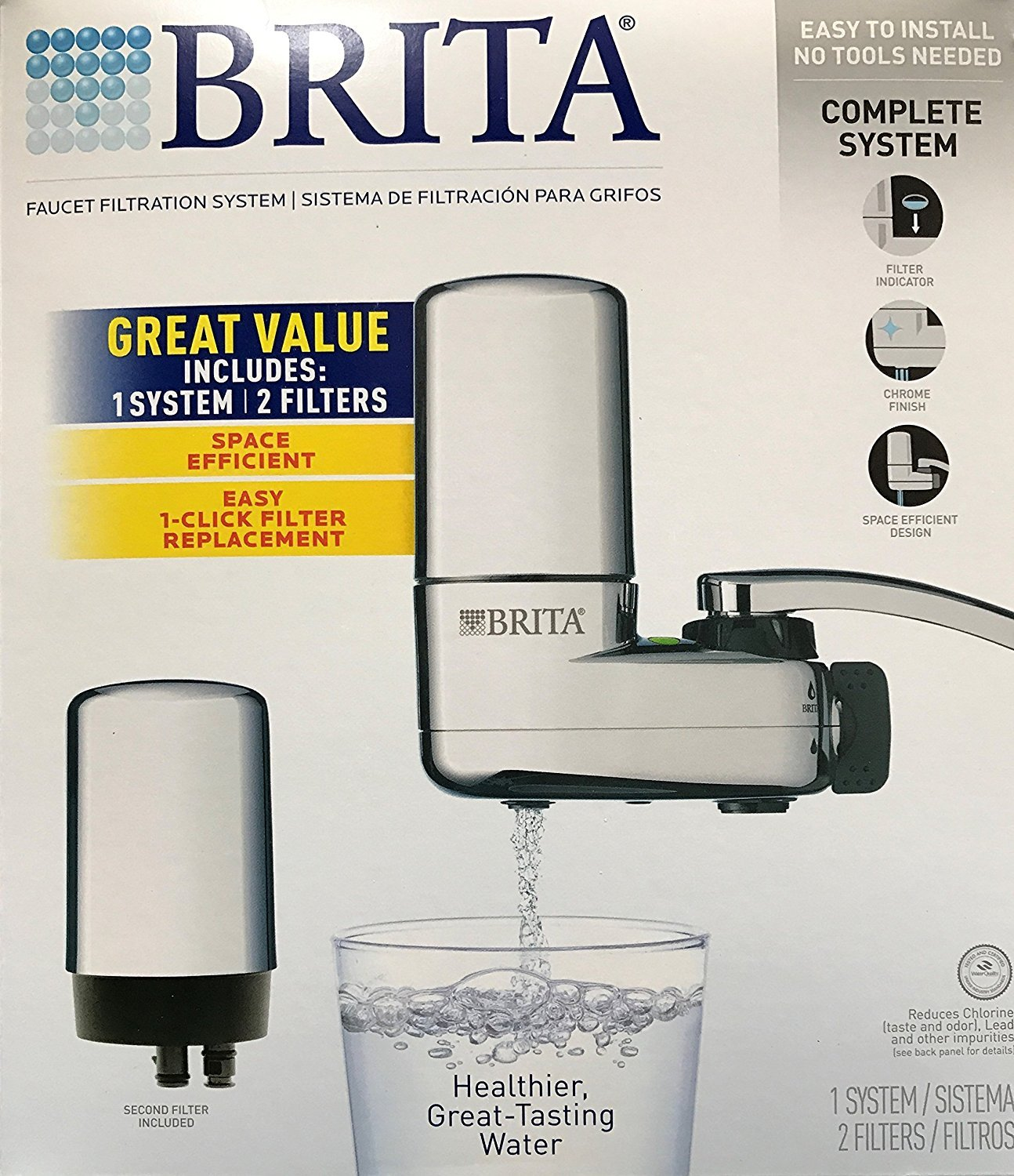 BRITA Chrome Faucet Mount Filtration System, Includes 1 System and 2 ...
