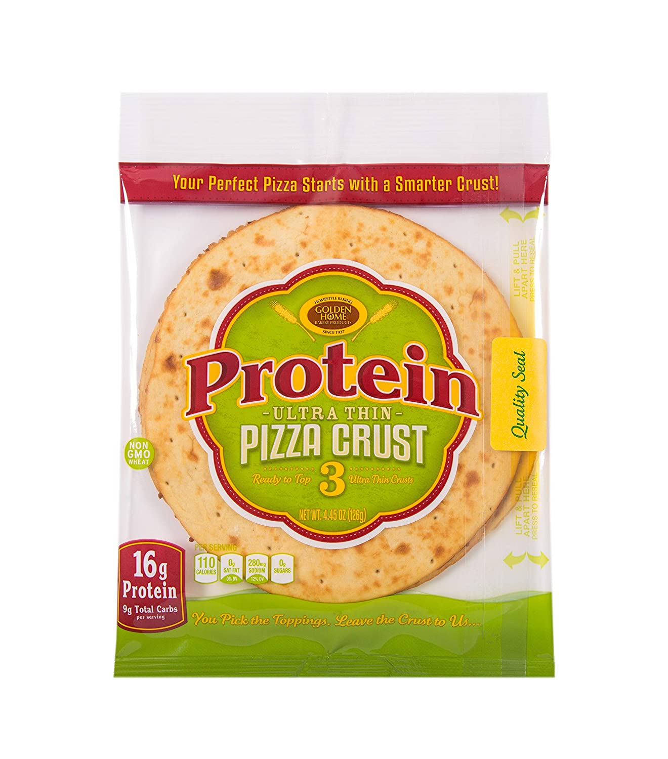 """Golden Home Bakery Products Protein Ultra Thin Pizza Crust, 7"""" (3 Pack)"""