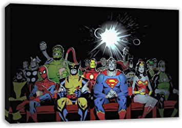 "Superhero Movies 3 x Split Panel Canvas Pictures 10x20/"" Marvel Captain America"