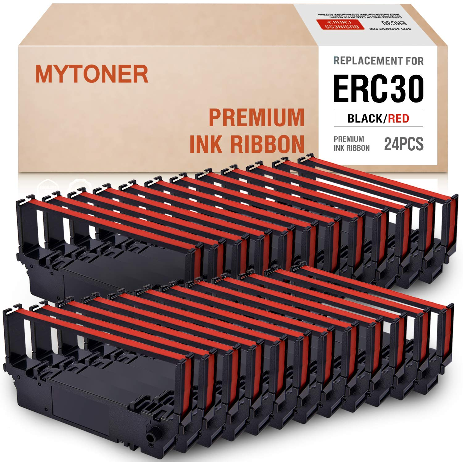 MYTONER ERC30 ERC-30 ERC 30/34/38 B/R Black/red Compatible with Ink Ribbon Cartridge for use in Epson ERC38 NK506 (24-Pack) by MYTONER