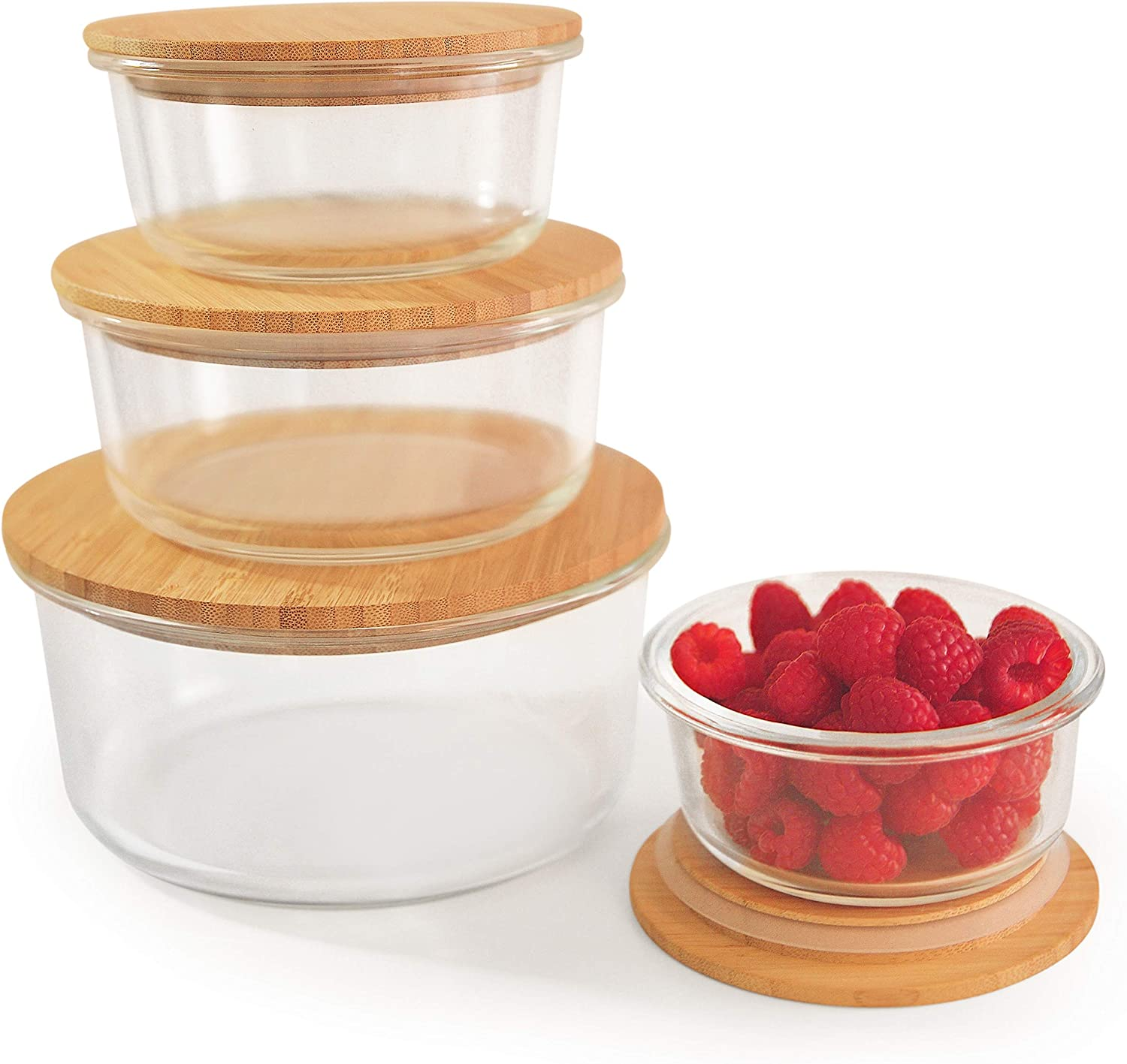 Live Bamboo Premium Round Glass Storage Containers with Bamboo Lids for Meal Prep/Food Storage | Set of 4 | BPA Free, Recyclable, Eco-friendly, Plastic Free | Microwave, Dishwasher, Oven, Freezer Safe