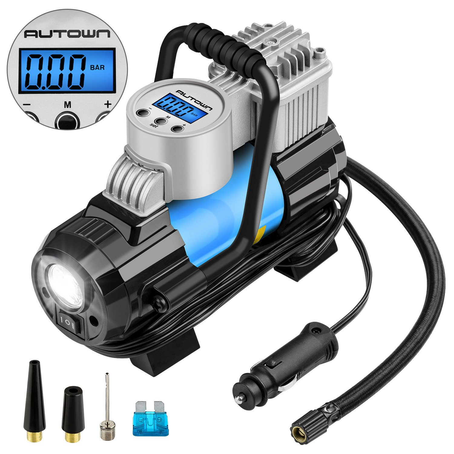 AUTOWN 12V DC Portable Air Compressor Pump, 150 PSI Auto Digital Tire Inflator with Extra Nozzle Adaptors and Fuse for Car Bike Tires and Other Automobiles. Digital Car Tire Inflator
