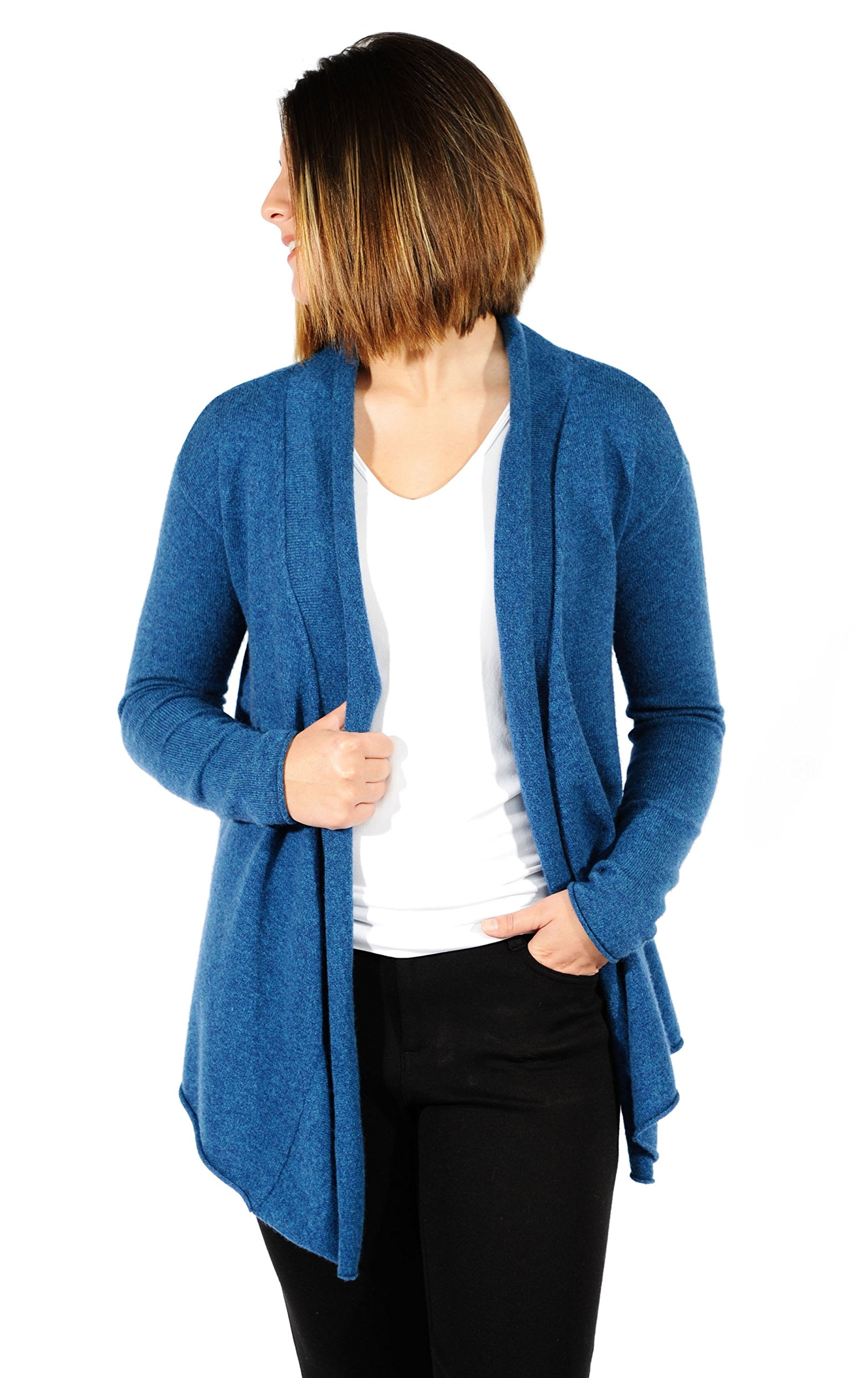 Gigi Reaume 100% Cashmere Womens Sweater, Open Front Cardigan, Shawl Collar Swing Style (Small, Teal)