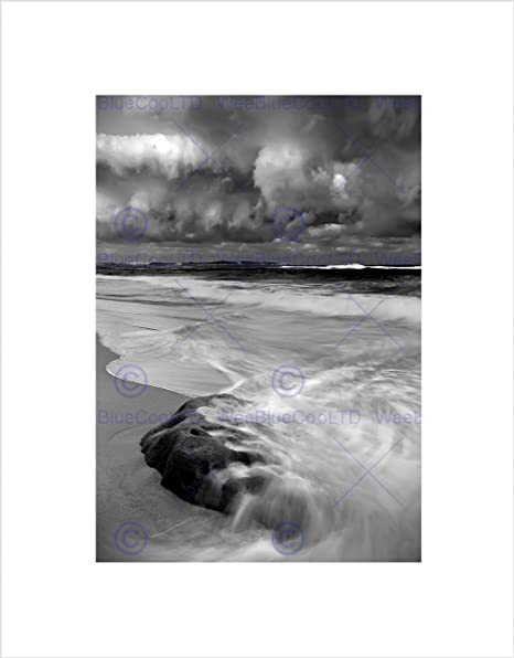 Nature landscape storm sea beach black white wave framed art print b12x4076
