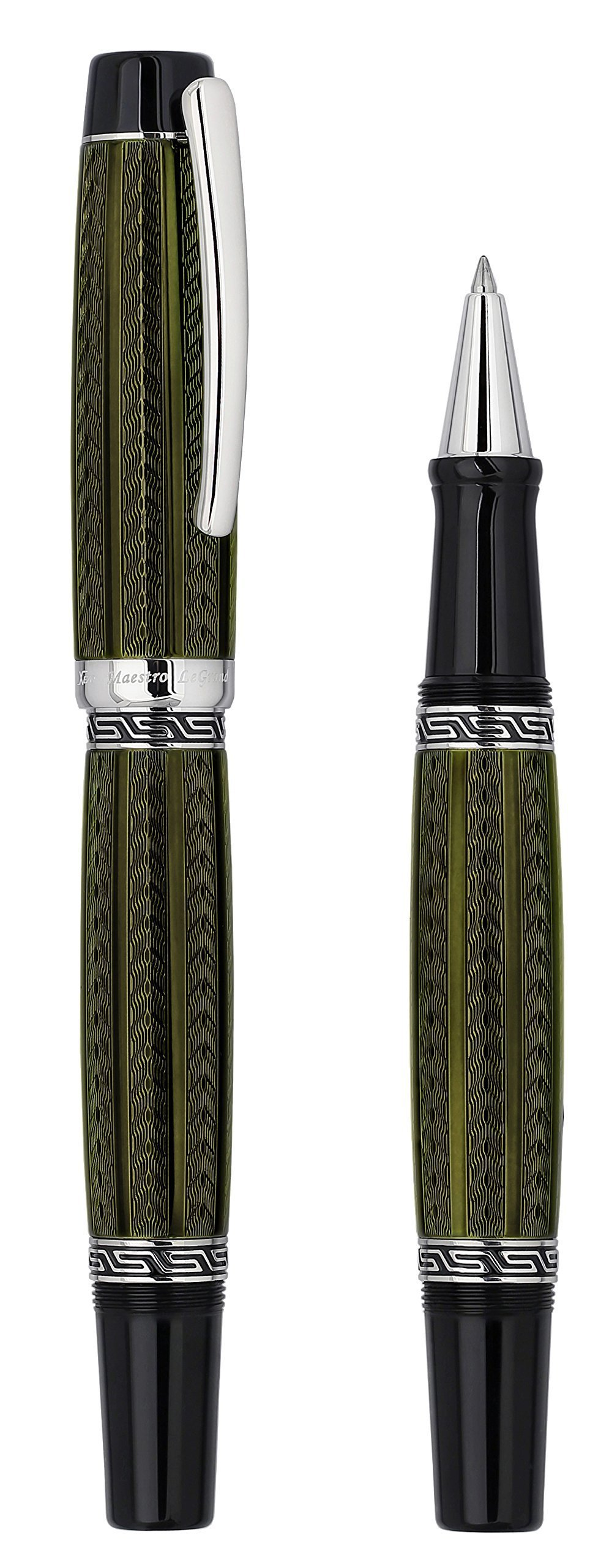Xezo Maestro LeGrand Diamond Cut, Lacquered, Platinum Plated Fine Rollerball Pen in Moldavite Color by Xezo Pens