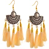 Zephyrr Fashion Lightweight Oxidized Silver Hook Tassel Earrings Jewellery for Girls