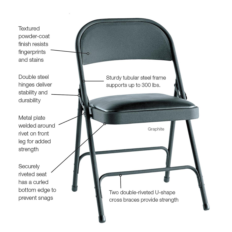 Incredible Alefc94Vy10B Steel Folding Chair W Padded Seat 4 Carton Theyellowbook Wood Chair Design Ideas Theyellowbookinfo