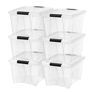IRIS USA, Inc. TB-28 Stack & Pull Box, 32 Quart, Clear, 6 Pack