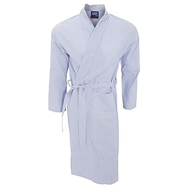 32b089eec9 Universal Textiles Mens Lightweight Patterned Kimono Robe (Medium) (Light  Blue Stripe)