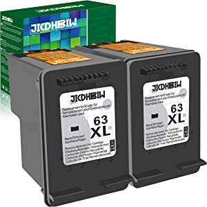 JICDHBIW Remanufactured Ink Cartridge Replacement for HP 63XL 63 XL Black, High Yield 1200 Page, Upgraded Chip Fit with Envy 4520 OfficeJet 3830 5252 4650 5258 4655 DeskJet 3636 1111, 2 Pack