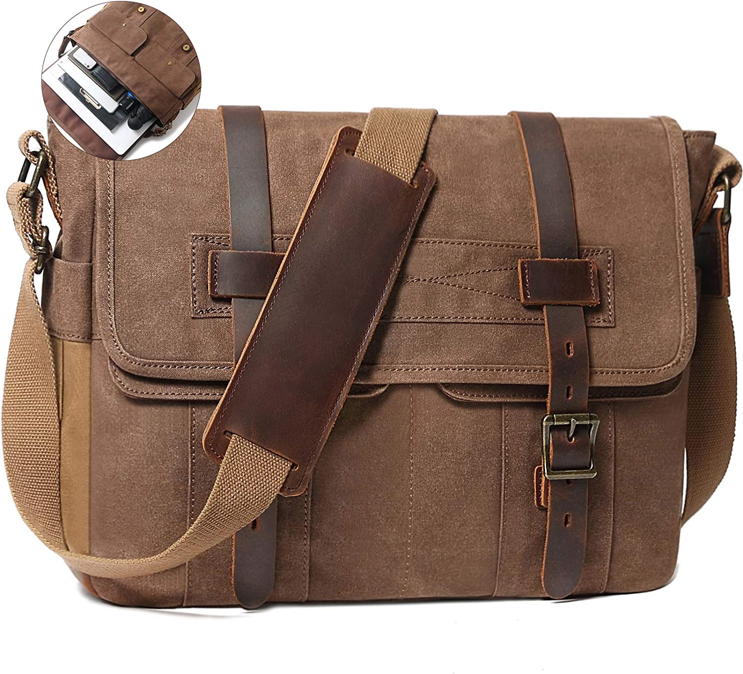 Messenger Bag for Men 15.6 Inch Rugged Waxed Canvas Laptop Bag Waterproof Genuine Leather Briefcase Satchel Bags for Men Large Computer Work Bag, Brown