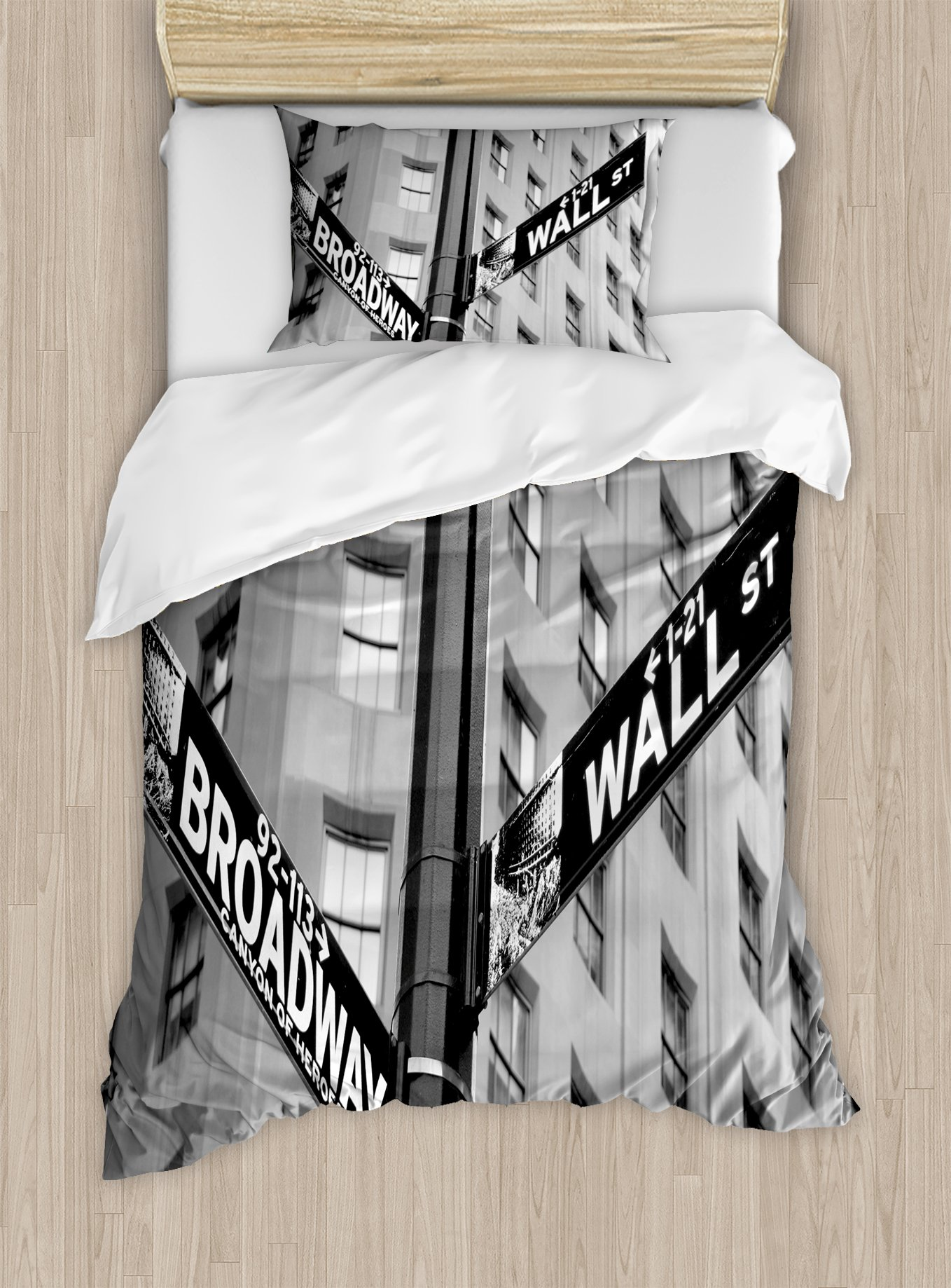 Ambesonne New York Duvet Cover Set Twin Size, Street Signs of intersection of Wall Street and Broadway Finance Destinations, Decorative 2 Piece Bedding Set with 1 Pillow Sham, Black and White