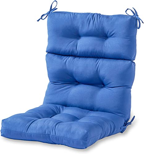 Greendale Home Fashions Indoor Outdoor High Back Chair Cushion, Marine Blue