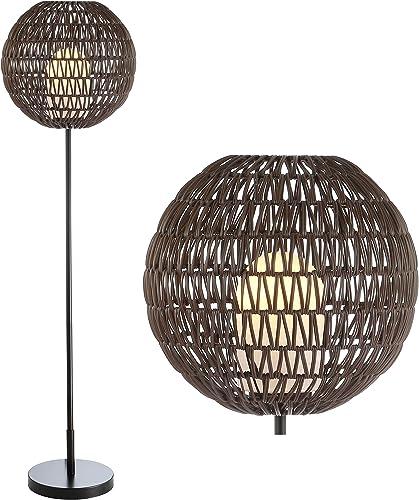 JONATHAN Y JYL6507A Bea 61″ Outdoor Woven Globe LED Floor Lamp