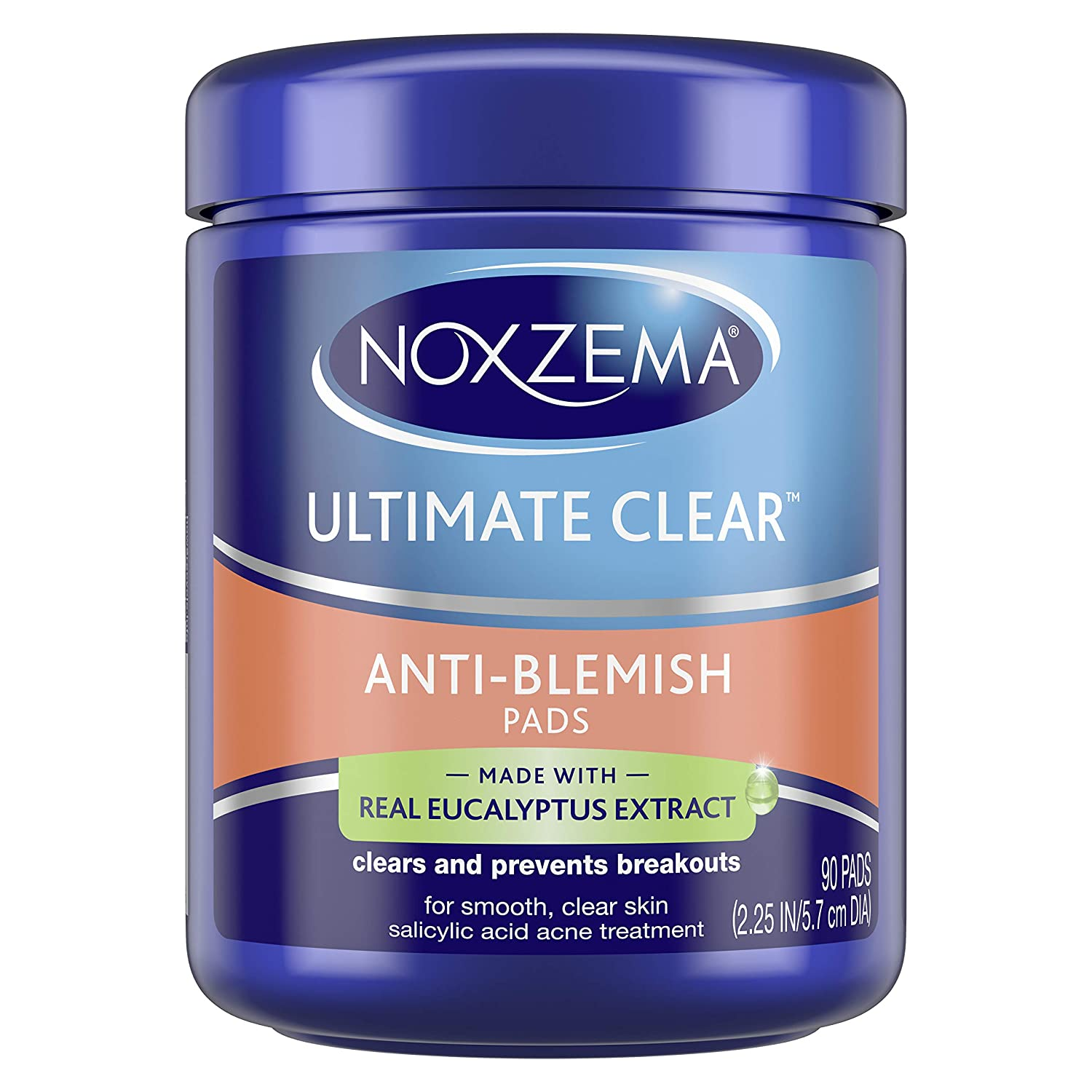 Noxzema Ultimate Clear Face Pads Clears and Prevents Acne Anti-Blemish Made with Over 60 percent Alcohol 90 Count, Pack of 6