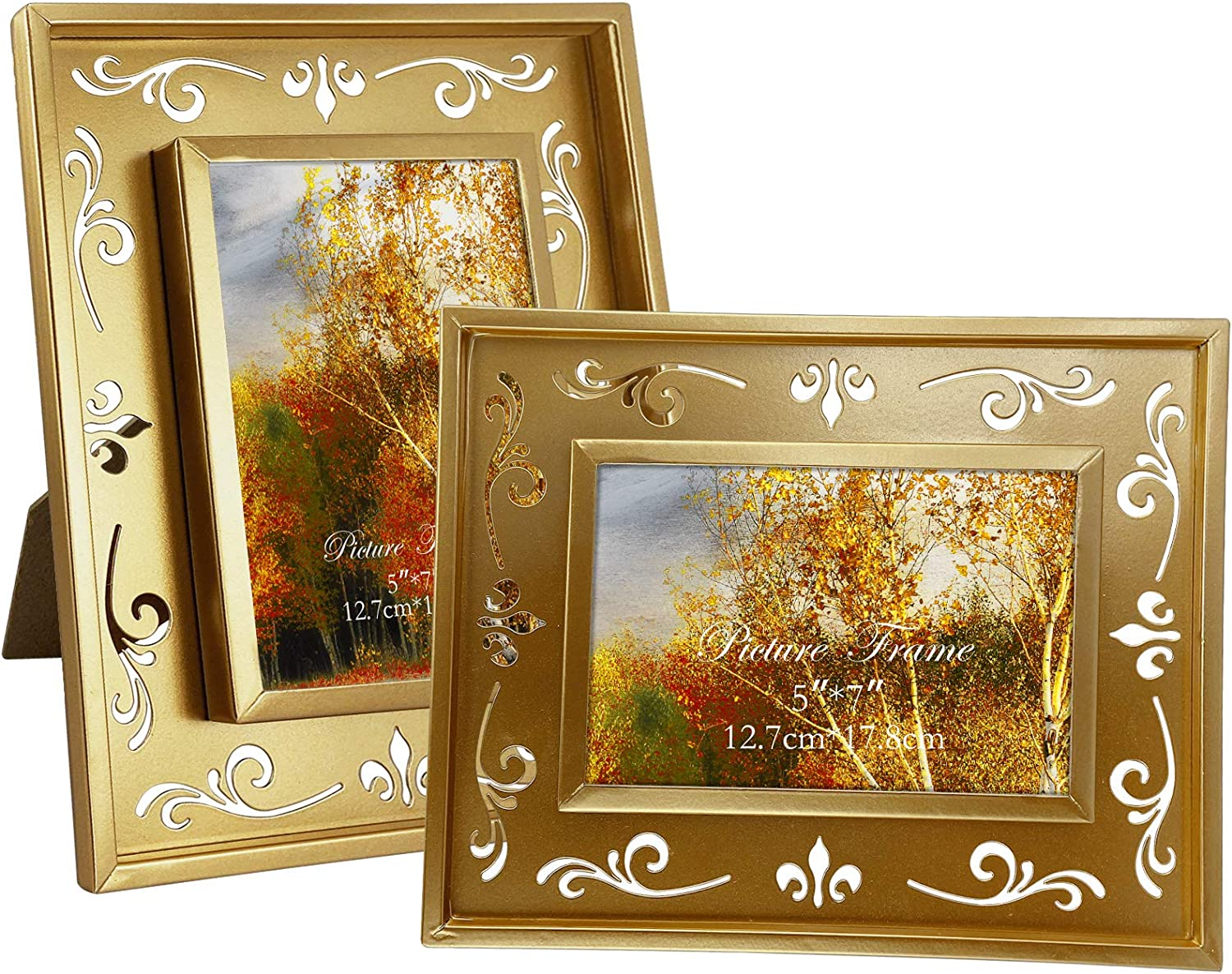 2 Pack 5x7 Picture Frames with Floral Cutout Design, Gold Metal Photo Frame for Wall and Tabletop Decor