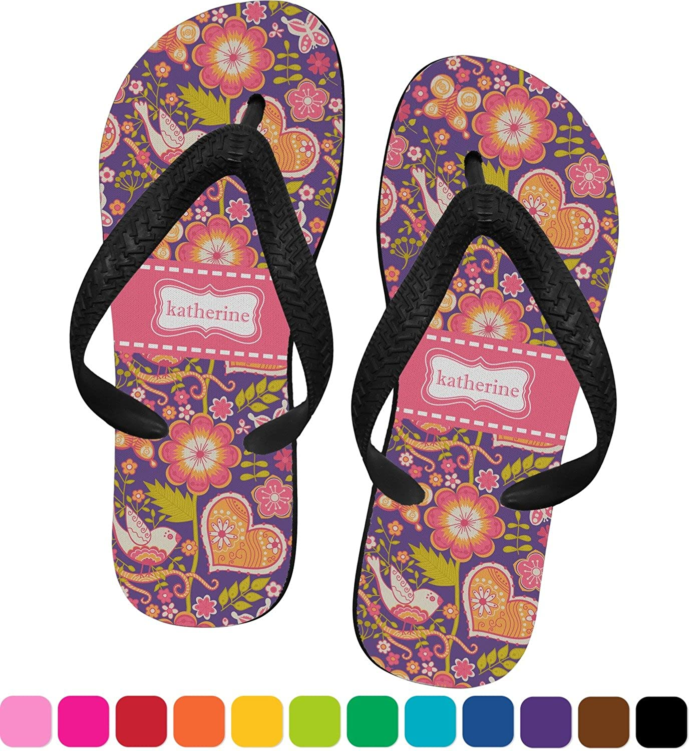 Birds & Hearts Flip Flops (Personalized)