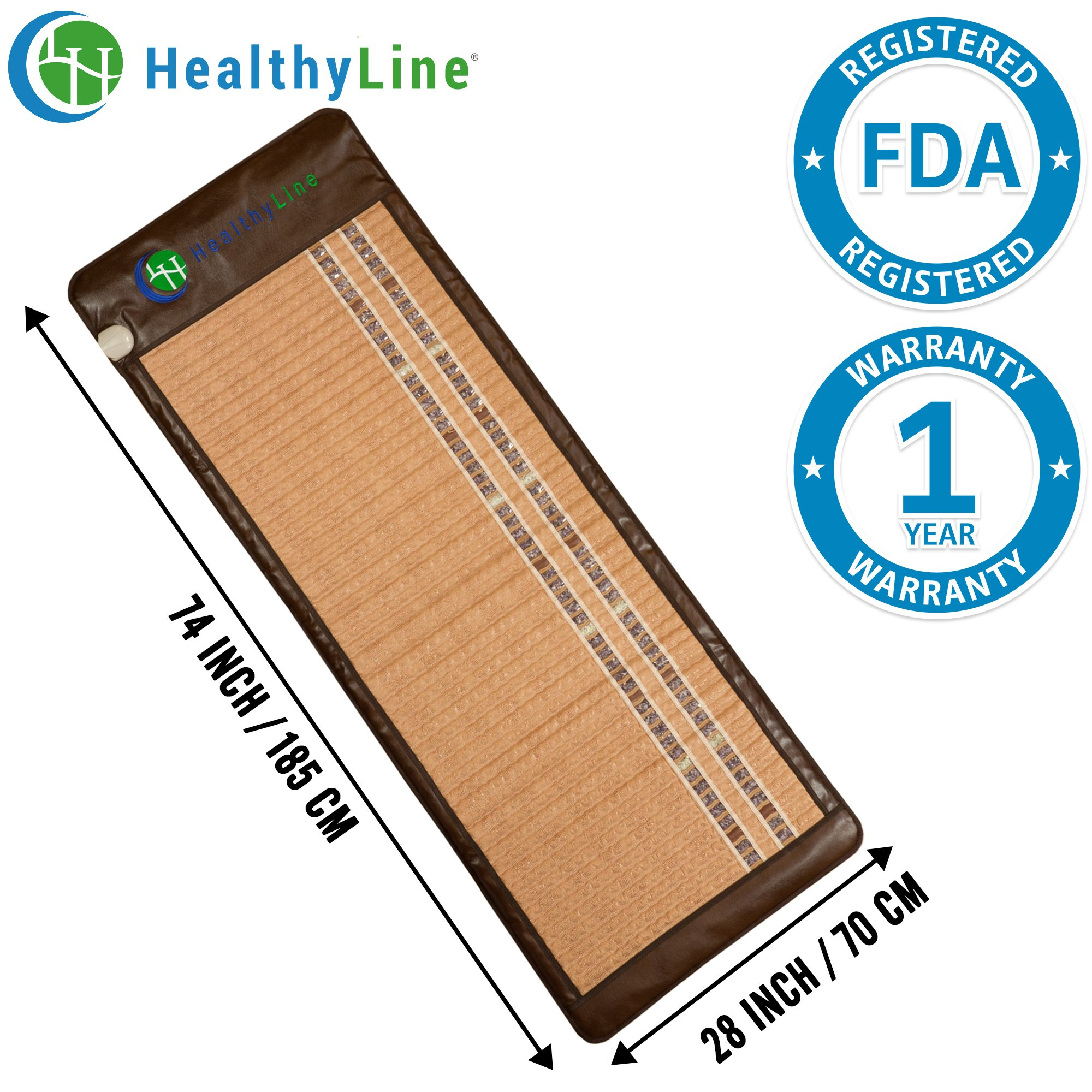 HealthyLine Infrared Heating Mat - Pain Relief Sore Muscles, Arthritis and Injury Recovery (Soft & Flexible, Full-Body) 74″ x 28″| Natural Amethyst, Jade & Tourmaline Ceramic | ​​US FDA by HealthyLine (Image #1)