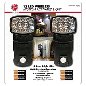 Hoover 12-LED Wireless Motion Activated Indoor Task/Night Light, 2 Pack