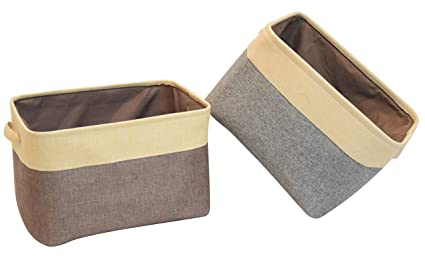 HIYAGO Rectangle Fabric Bin Storage Basket[2 Pack] With Handles For Clothes  Storage