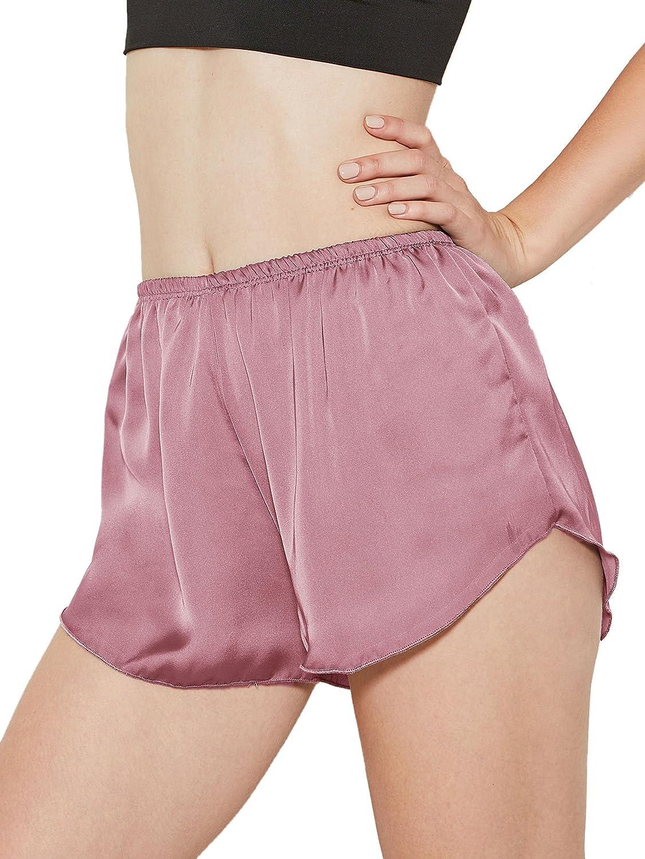 SweatyRocks Women's Satin Pajamas Pant Solid Color Elastic Waist Shorts Pajama Bottoms Sleepwear