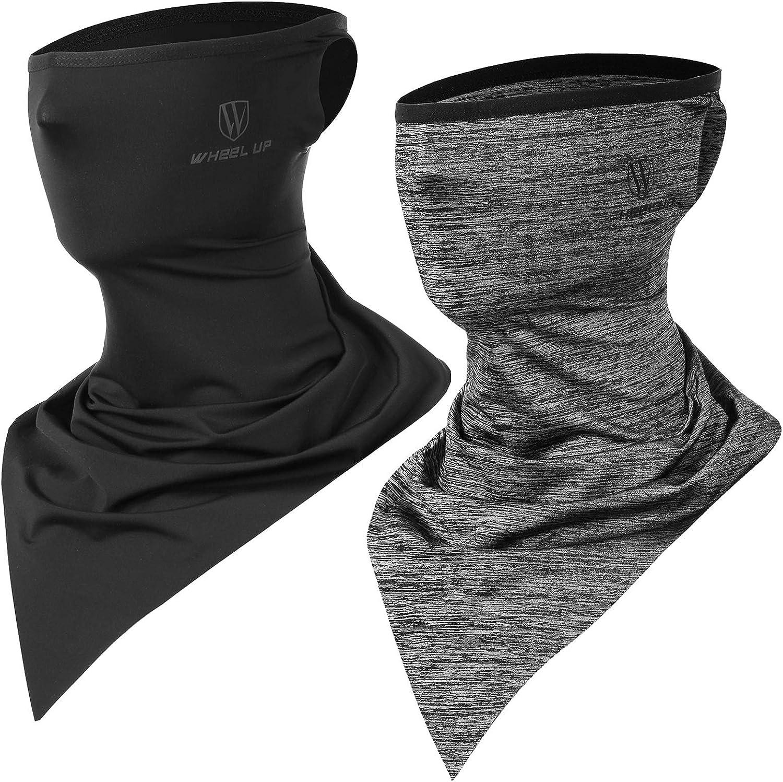 Ossky Bandanas multifuncionales elásticas,Polainas para el Cuello, Facial pañuelo Cuello Polainas de Verano Seda Hielo, protección UV y contra el Viento/Sudor y Transpirable/Secado rápido(Gray+Black)