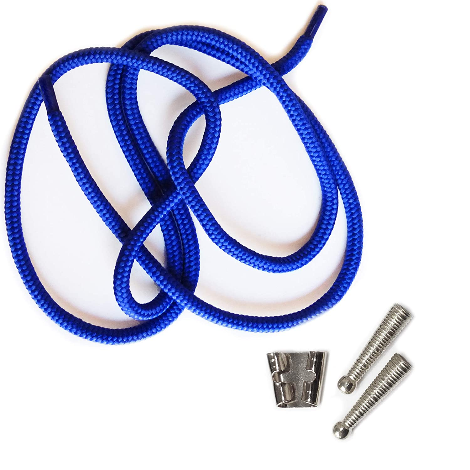 Blank Bolo String Tie Parts Kit Standard Slide Textured Tips Royal Blue Cord DIY Silver Tone Supplies for 4 Ties