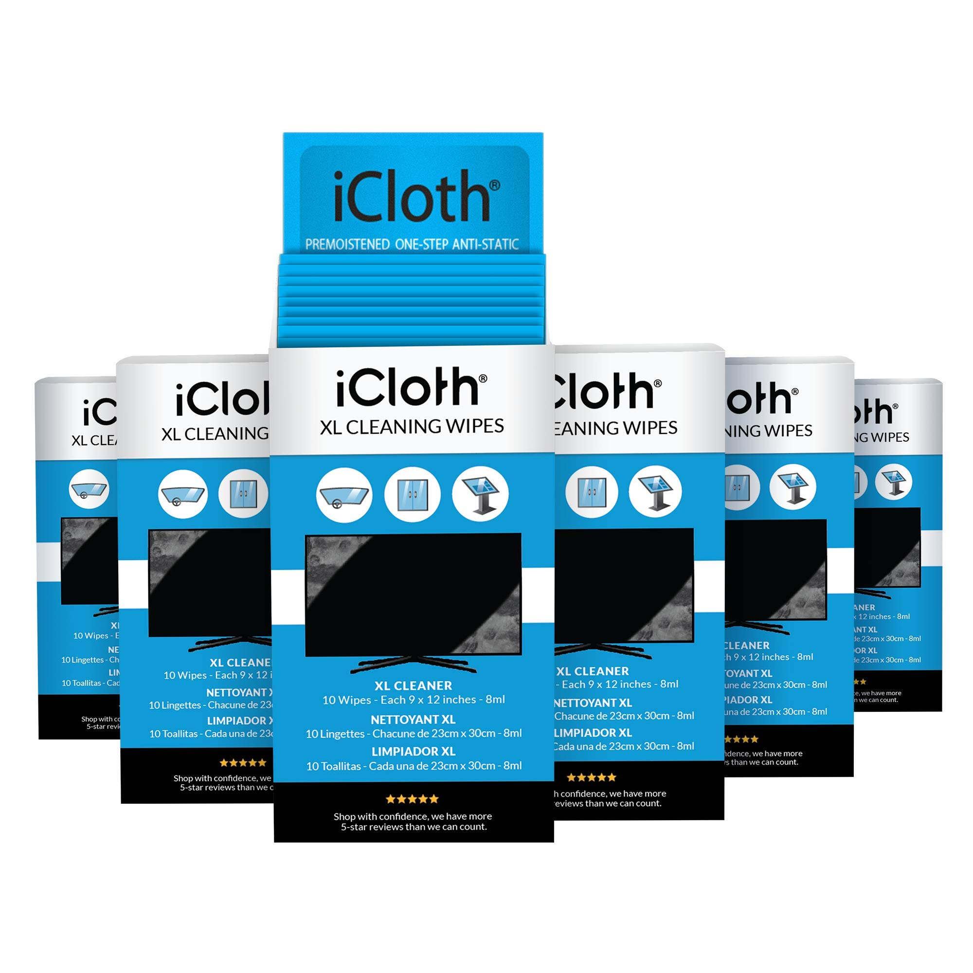 iCloth XL TV Screen Cleaner, Box of 60 Cleaning Wipes for Your Premium UHD, OLED, 4K, LCD, LED, Plasma and Other HD TV Screens