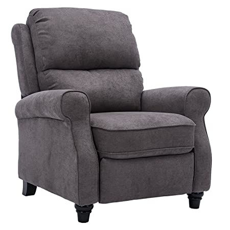BONZY Recliner Roll Arm and Easy to Push Mechanism Recliner Chair – Warm Gray