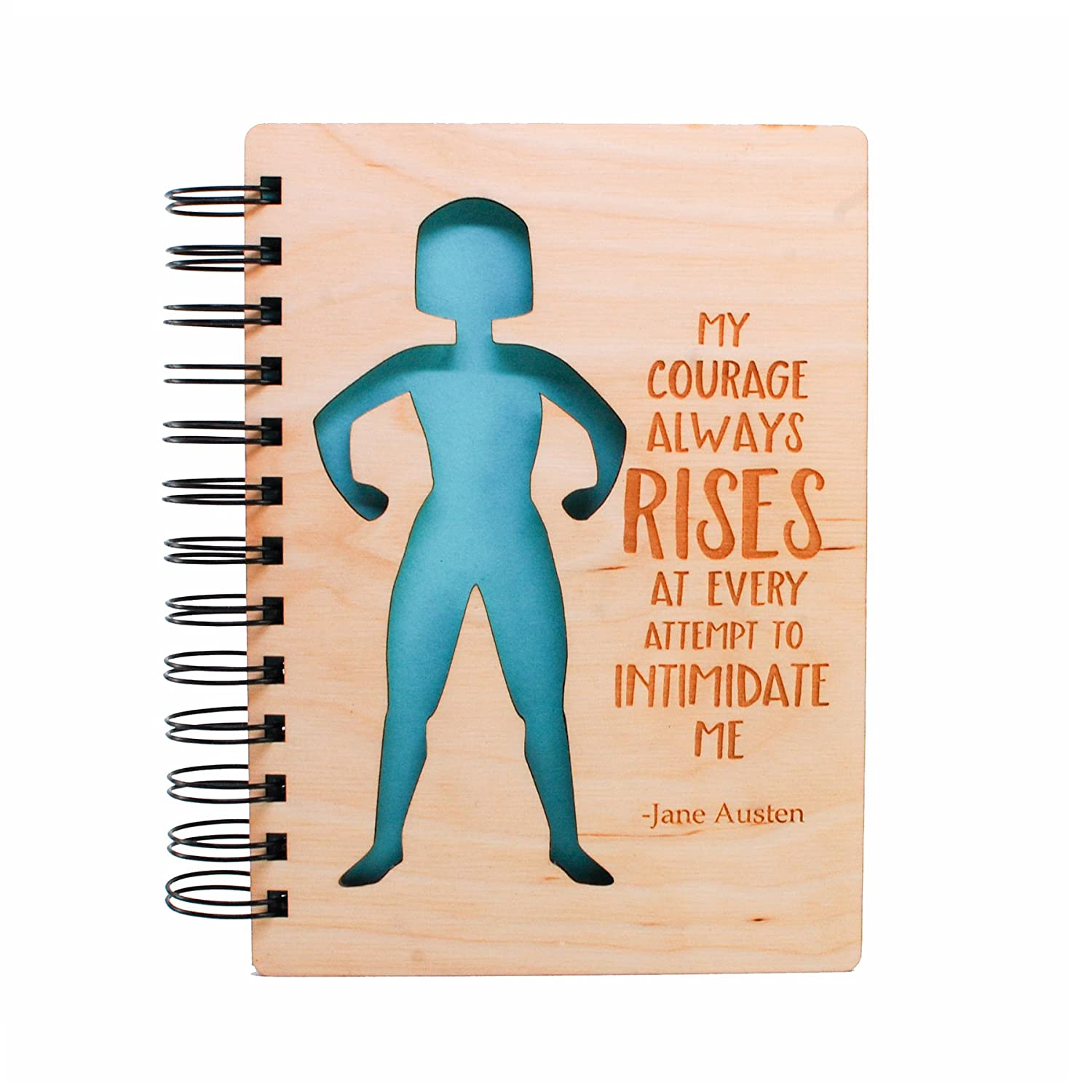 My Courage Always Rises Wood Journal