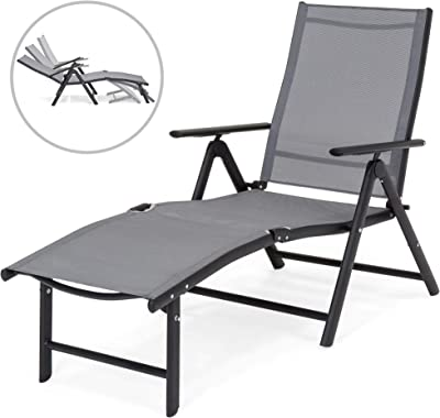 Best Choice Products Reclining Folding Chaise Lounge Chair for Outdoor, Patio, Poolside w/Armrests, Adjustable Foot Rest - Gray