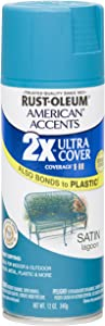 Rust Oleum 280720 American Accents Ultra Cover 2X Spray Paint, Satin Lagoon, 12-Ounce