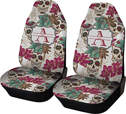RNK Shops Sugar Skulls Flowers Car Seat Covers Set Of Two Personalized
