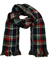 Luxury Mens Womens Tweed Dogtooth Tartan Scarf Plaid Check Reversible in Cream / Blue / Red
