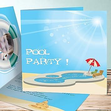 Originelle Einladungskarten Kindergeburtstag, Poolparty 80 Karten,  Quadratische Klappkarte 145x145 Inkl. Weiße Umschläge,