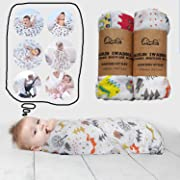 Bamboo Muslin Baby Swaddle Blankets - for Newborn Infant Toddler - Gentle Soft and Safe for Baby's Skin Swaddle Blankets - 70% Bamboo 30% Cotton - 47 x 47 inch (Sample 3)