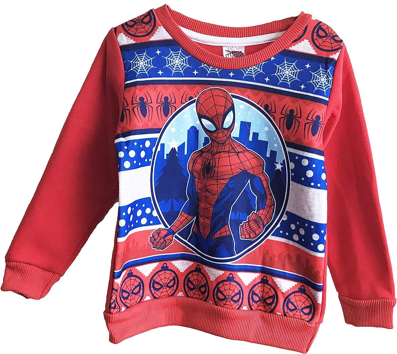 Boys Spider-Man Marvel Festive Christmas Jumper Kids Sweatshirt