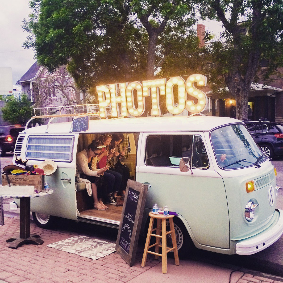 PHOTOS Photo Booth PLUG-IN Rustic Vintage Inspired Metal Marquee Sign Light - 24 colors.