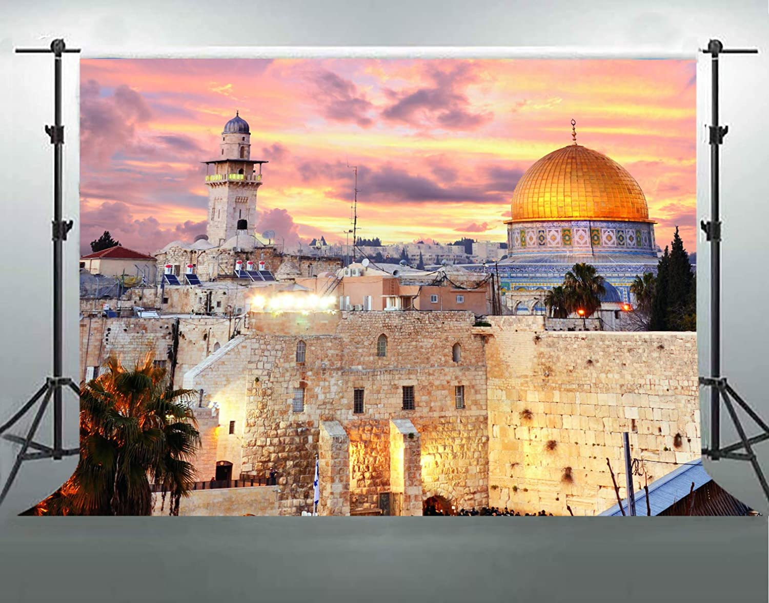 Jerusalem Cityscape Backgrounds for Photography, 7x5ft Soft Cotton No Wrinkle, Sunset Dome of The Rock Cityscape Backdrop, Party Room Decor Banner, YouTube Photo Shooting Props DSFS019