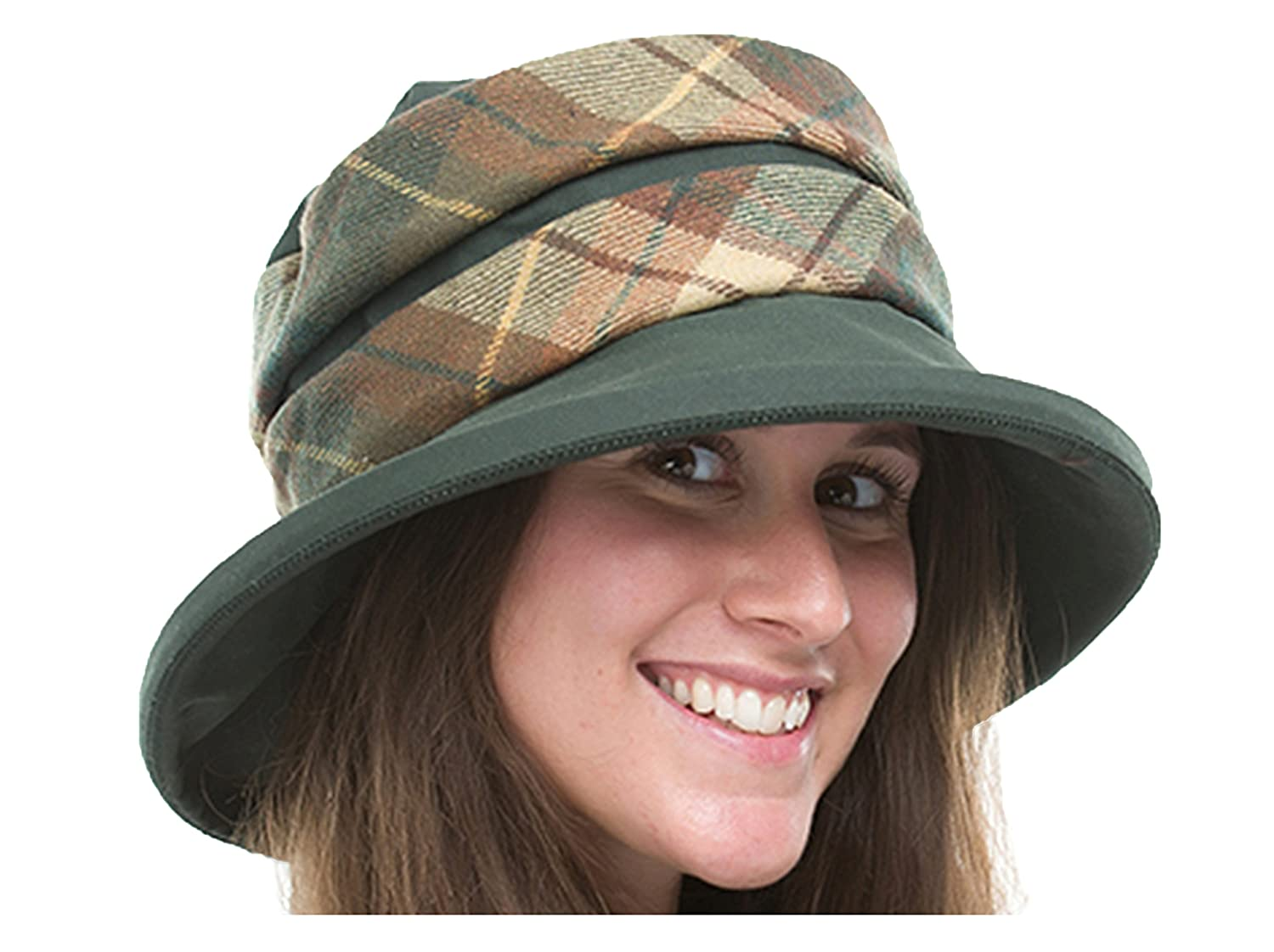 f64c57573fc Jane Anne Designs Ladies Maria Green Waxed Cotton Waterproof Winter Wax  Cloche Hat with Tweed Band  Amazon.co.uk  Clothing