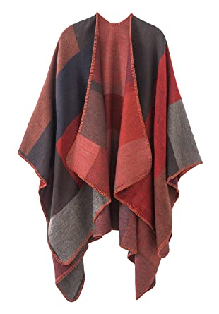 3c3283d5d0c96 Urban CoCo Women s Color Block Shawl Wrap Open Front Poncho Cape (red)   Amazon.in  Clothing   Accessories