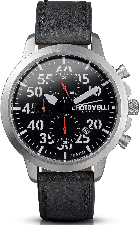 Chotovelli Men s Aviator Chronograph Watch Waterproof Black Vintage Leather Strap 33.11