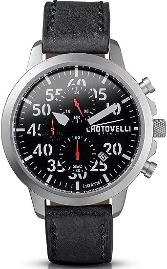Chotovelli Aviador - Reloj para hombre - cronógrafo - correa de piel negro 33.11