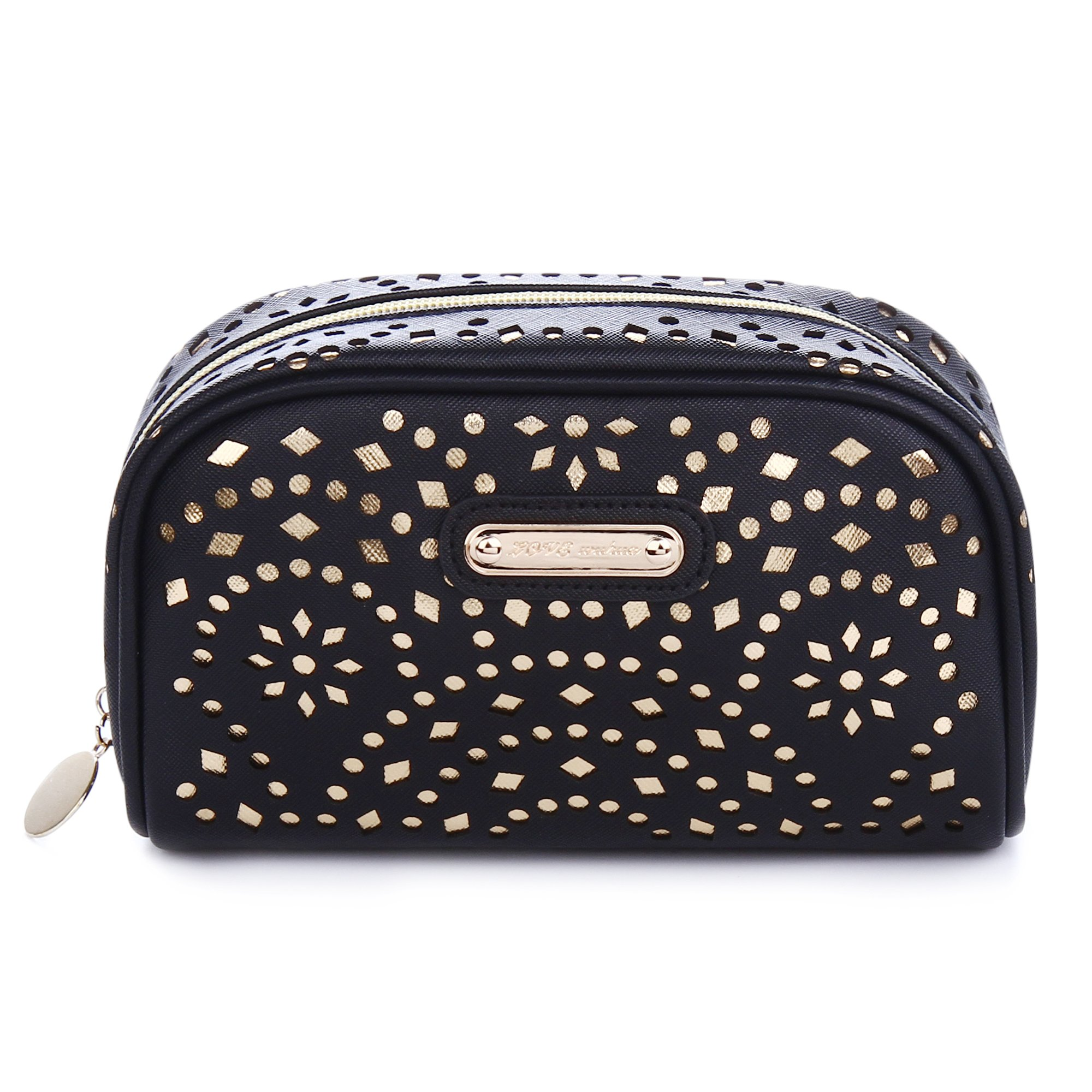 Makeup Bag, Wuhua Gold Pattern Cosmetic Bag with Zipper, Toiletry/Travel Bag for Women, Single Layer Storage Bag for Brushes Jewelry Accessories Collection