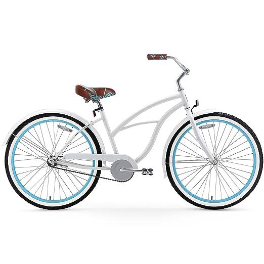 175e66e0da5 Amazon.com : sixthreezero Women's Single Speed Beach Cruiser Bicycle, BE  White/Blue, 26
